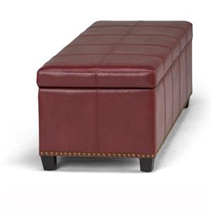 Simpli Home Kingsley 48-in x 17.7-in x 16.1-in Radicchio Red Large Storage Ottoman Bench