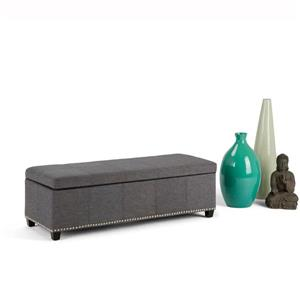 Simpli Home Kingsley 48-in x 17.7-in x 16.1-in Slate Grey Large Storage Ottoman Bench