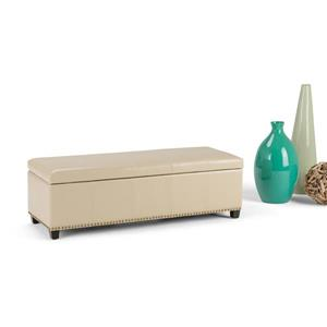 Simpli Home Kingsley 48-in x 17.7-in x 16.1-in Satin Cream Large Storage Ottoman Bench