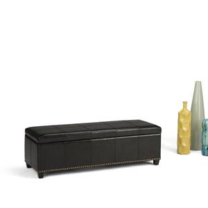 Simpli Home Kingsley 48-in x 17.7-in x 16.1-in Midnight Black Large Storage Ottoman Bench