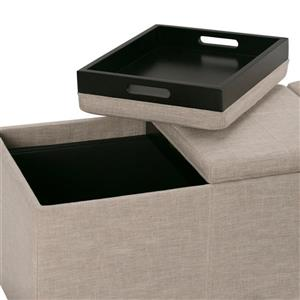 Simpli Home Avalon 41.7-in x 16.9-in x 16.9-in Natural Extra Large Storage Ottoman