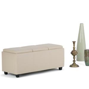Simpli Home Avalon 42-in x 17-in x 17-in Satin Cream Extra Large Ottoman