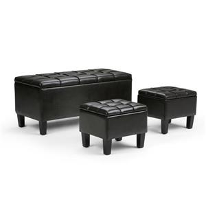 Simpli Home Dover Tanners Brown 3-Piece Storage Ottoman Bench