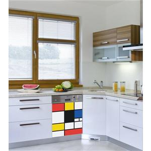 ADzif Peal and Stick Decal for Dishwasher - Pop Mondrian