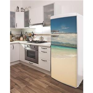 ADzif Lombok Beach 30- in x 70- in Peal and Stick Decal for Refrigerator