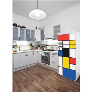 ADzif Pop Mondrian 30- in x 70- in Peal and Stick Decal for Refrigerator
