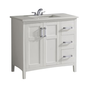 Simpli Home Winston 36-in Off White With Sink  Bombay  Quartz Marble Top Vanity