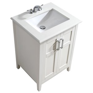 Simpli Home Winston 24-in Off White With Sink Bombay White Quartz Marble Top Vanity