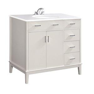 Simpli Home Urban Loft 37-in Off White Bathroom Vanity with White Quartz Marble Top