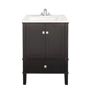 Simpli Home Chelsea 24-in Black Bathroom Vanity with Marble Top