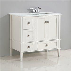 Simpli Home Chelsea 36-in Off White Bathroom Vanity with Marble Top