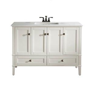 Simpli Home Chelsea 48-in Off White Bathroom Vanity with Marble Top