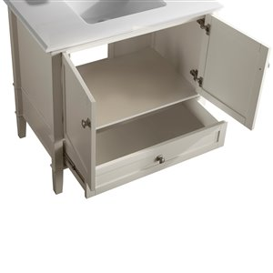 Simpli Home Chelsea 36-in Off White Bathroom Vanity with Marble Top