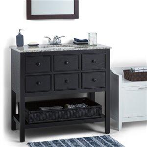 Simpli Home Burnaby 36-in Espresso Brown Bathroom Vanity with Granite Top