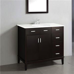 Simpli Home Urban Loft 36-in Brown Bathroom Vanity with White Quartz Marble Top