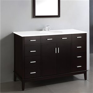 Simpli Home Urban Loft 49-in Espresso Bathroom Vanity with White Quartz Marble Top