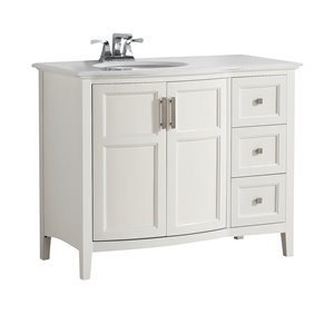 Simpli Home Winston 42-in Off White With Sink Bombay Quartz Marble Top Rounded Front Vanity