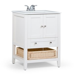 Simpli Home Cape Cod 24-in Off White Bathroom Vanity with Marble Top