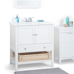 Simpli Home Cape Cod 30-in Off White Bathroom Vanity with Marble Top