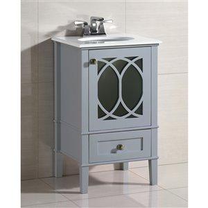 Simpli Home Paige Vanity - White Quartz Marble - 20-in - Grey