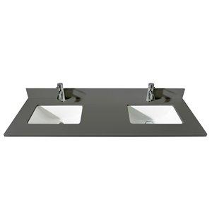 GEF Bathroom Vanity Countertop, 61-in Calypso Grey Quartz