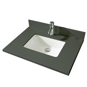 GEF Bathroom Vanity Countertop, 31-in Calypso Grey Quartz