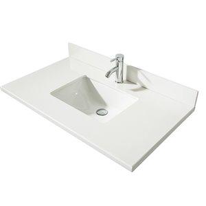 GEF Bathroom Vanity Countertop, 37-in  Snow White Quartz