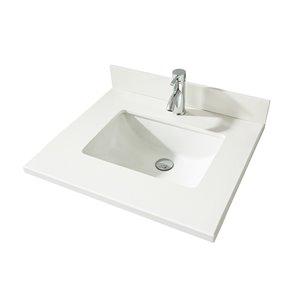 GEF Bathroom Vanity Countertop, 25-in  Snow White Quartz
