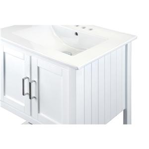 GEF Lena Vanity with Porcelain Top, 24-in White