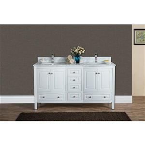 GEF Adelyn Vanity with Carrara Marble Top, 60-in White