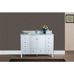 GEF Adelyn Vanity with Carrara Marble Top, 48-in White