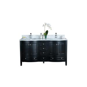 GEF Adelyn Vanity with Carrara Marble Top, 60-in Espresso