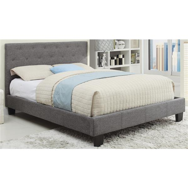 Worldwide Home Furnishings Grey Tufted Upholstered Queen Platform