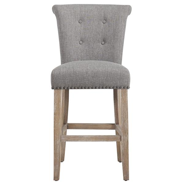 Awesome Worldwide Home Furnishings Nspire Grey Button Tufted Fabric Counter Stool Set Of 2 Ibusinesslaw Wood Chair Design Ideas Ibusinesslaworg
