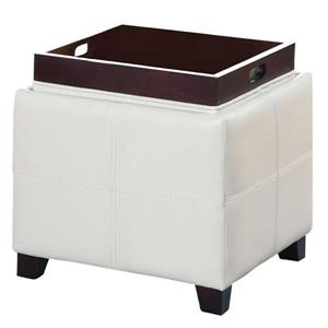 Worldwide Home Furnishings White Storage Cube with Reversible Tray