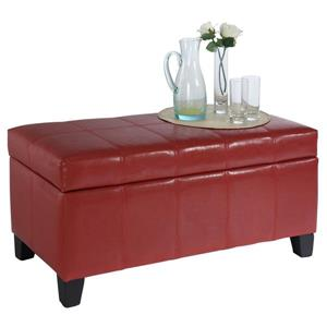 Worldwide Home Furnishings Red Faux Leather Storage Ottoman