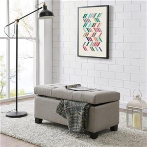 Worldwide Home Furnishings Grey Storage Ottoman