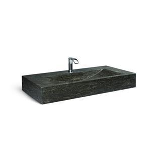 Unik Stone Black Steel Vanity with Stone Sink - Limestone - 36-in