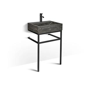 Unik Stone Black Steel Vanity with Stone Sink - Limestone - 24-in