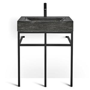 Unik Stone Black Steel Vanity with Stone Sink - Limestone - 30-in