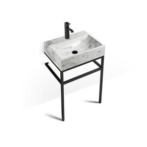 Unik Stone Black Steel Vanity with Stone Sink - Ice Marble - 24-in