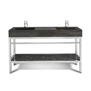 Unik Stone Stainless Steel Vanity with Double Sink - Limestone - 60-in