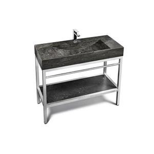 Unik Stone Stainless Steel Vanity with Stone Sink - Limestone - 48-in