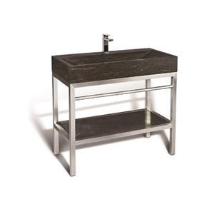 Unik Stone Stainless Steel Vanity with Stone Sink - Limestone - 36-in