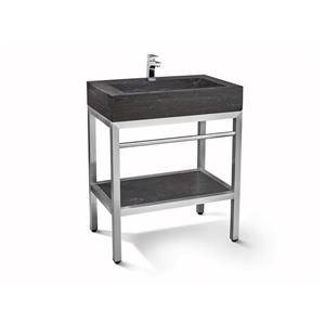 Unik Stone Stainless Steel Vanity with Limstone Sink - 30-in
