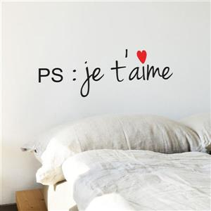 "ADzif Text Wall Decal - ""PS : Je t'aime"" - 0.7' x 2'"