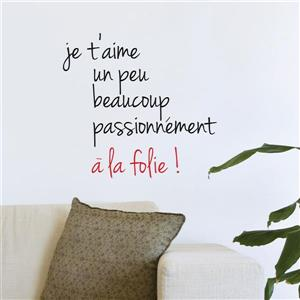 """ADzif Text Wall Decal - """"Amour fou"""" - 1.6' x 1.8'"""