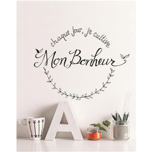 "ADzif Text Wall Decal - ""Cultiver son bonheur"" - 2.3' x 1.8'"