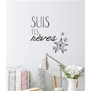 """ADzif Text Wall Decal - """"Suis tes rêves"""" - 2.2' x 1.6'"""