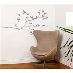 ADzif Birds & Buds Medium Wall Decal - 4.4' x 2.7' - Gray